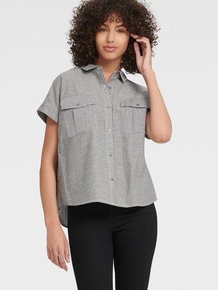 DKNY Women's Striped Short Sleeve Button Up With Chest Pockets - Dark Grey Stripe - Size XX-Small