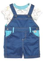Absorba Baby's Dinosaur Print Tee and Overalls Set