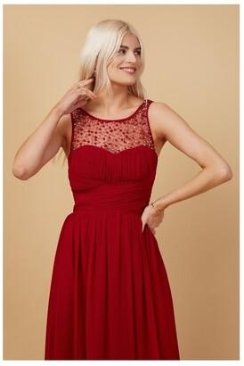 Little Mistress Grace Bridesmaid Red Embellishment Sweetheart Maxi Dress