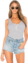 Monrow Stripe Rib Baseball Tank in White. - size L (also in M,S,XS)