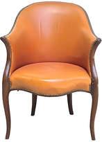 One Kings Lane Vintage Antique George III Leather Armchair - Vermilion Designs - tan/brown/antique brass