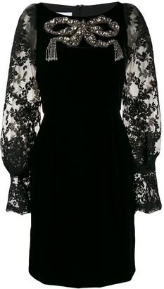 Marchesa velvet embellished dress