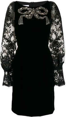 Marchesa Velvet Embellished Dress