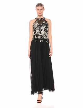 Cachet Women's Halter Gown with Embroidered Bodice Full Skirt