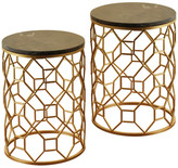 Stylecraft Round Marble Side Tables, Light Brown Marble Top, Gold Base, 2-Piece S