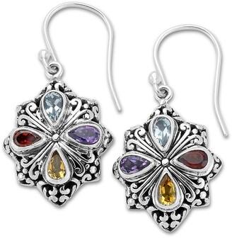 Samuel B. Sterling Silver Gemstone Clover Earrings