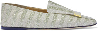 Sergio Rossi Glittered Striped Woven Loafers