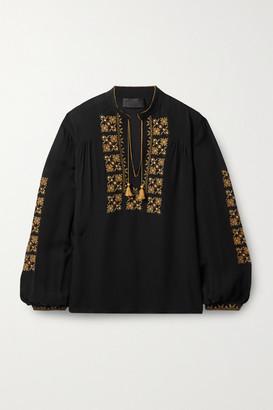 Nili Lotan Karina Tie-detailed Embroidered Silk-chiffon Top - Black