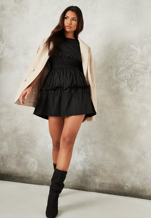 Missguided Black Ruched Waist Short Sleeve Mini Dress