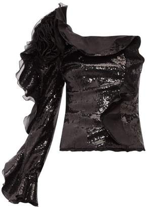 Dundas One-sleeve Ruffle-trimmed Sequinned Top - Womens - Black