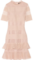 Alexander McQueen Ruffled Lace-paneled Metallic Silk-blend Mini Dress - Blush