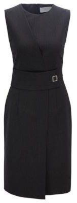 HUGO BOSS - Wrap Effect Dress With Irregular Pinstripe In Italian Fabric - Patterned
