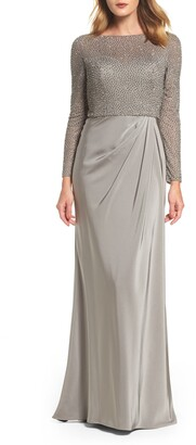 La Femme Long Sleeve Beaded Column Gown