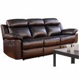 Asstd National Brand Caroline Leather Pad-Arm Reclining Sofa
