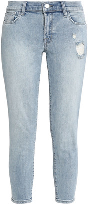 J Brand 9236 Cropped Distressed Low-rise Skinny Jeans