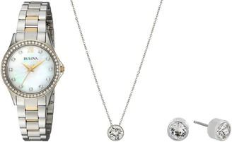 Bulova Women's 98X112 Two Tone Swarvoski Crystal Watch Box Set