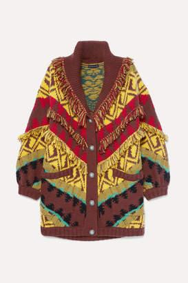 Etro Oversized Fringed Wool-blend Cardigan - Yellow