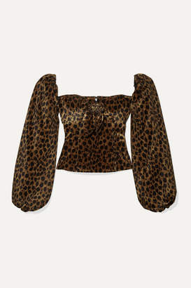 ATTICO Bow-detailed Animal-print Velvet Top - Brown