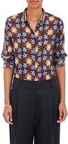 Giada Forte Women's Floral Cotton-Silk Voile Blouse-NAVY, BLACK