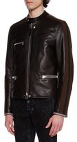 Lanvin Striped-Sleeve Leather Café Racer Jacket, Black