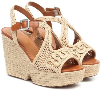 Clergerie Doloria raffia wedge sandals