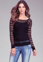 Bebe Bold Stripe Chiffon Back Sweater