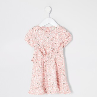 River Island Mini girls Pink floral ruffle skater dress