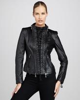 Neiman Marcus Lace-Up Leather Jacket