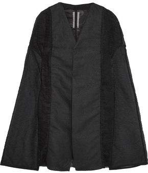 Rick Owens Plisse-tulle, Paper-blend Cloque And Crinkled-organza Cape