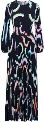 A.L.C. Leah Pleated Printed Crepe De Chine Maxi Dress