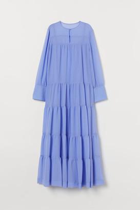 H&M Wide-cut Chiffon Dress - Blue