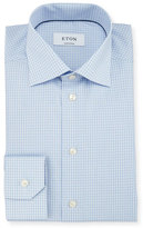 Eton Contemporary-Fit Dobby-Check Woven Dress Shirt, Light Blue