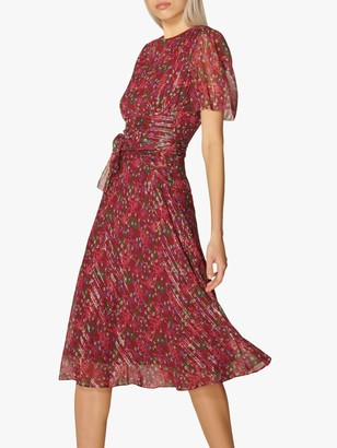 LK Bennett Eve Silk Rich Dress, Red
