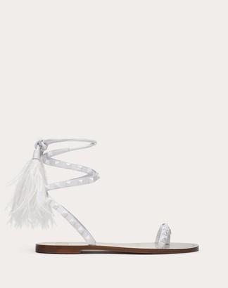 Valentino Rockstud Flair Calfskin Flat Flip-flop Sandal Women Optic White Lambskin 100% 35