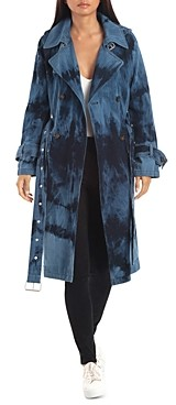AVEC LES FILLES Tie-Dye Raglan Double-Breasted Trench Coat