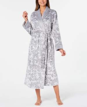 Charter Club Petite Scroll Print Plush Long Robe, Created for Macy's