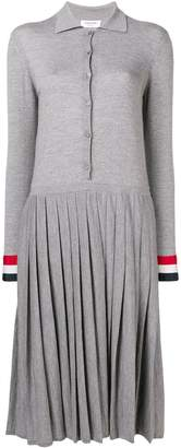 Thom Browne Grosgrain Cuff Pleated Polo Dress