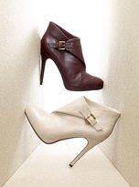 Leather foldover buckled bootie