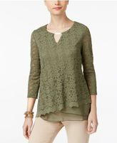 JM Collection Layered-Hem Lace Top, Only at Macy's