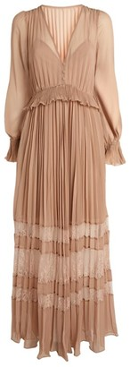 Self-Portrait Chiffon Lace-Panel Maxi Dress