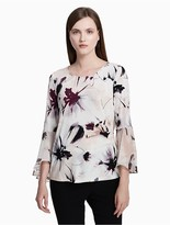 Calvin Klein Floral Ruffle Flared Sleeve Top