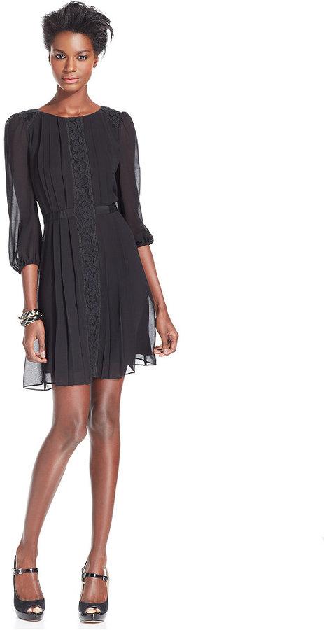 Jessica Simpson Three-Quarter-Sleeve Chiffon Dress