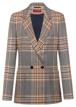 HUGO Regular-fit double-breasted jacket in Glen-check fabric