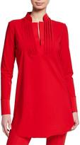 Chiara Boni Ineta Spar Mandarin-Collar Long-Sleeve Shirt