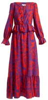 Borgo de Nor Lily Marquesa Floral-print Silk Dress - Womens - Red Multi