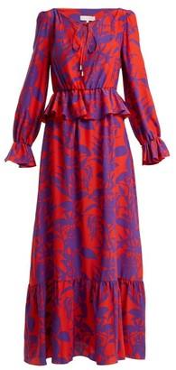 Borgo de Nor Lily Marquesa Floral-print Silk Dress - Red Multi