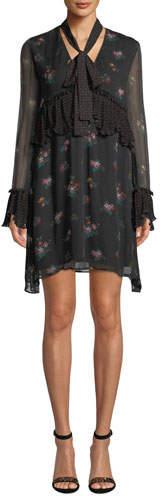 Pinko Long-Sleeve Floral Tie-Neck Boho Dress