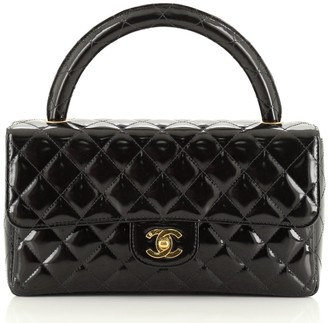 Chanel Vintage Twin Top Handle Flap Bag Quilted Patent Medium