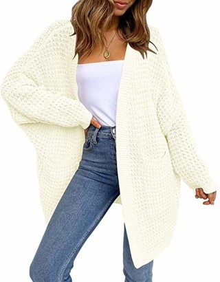 Youngaa New Women's Oversized Batwing Sleeve Chunky Knit Open Front Long Cardigan Sweaters with Pockets 100% Acrylic Soft Comfy