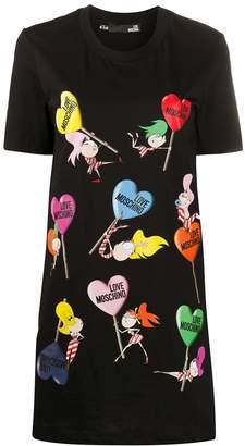 Love Moschino logo heart print T-shirt dress